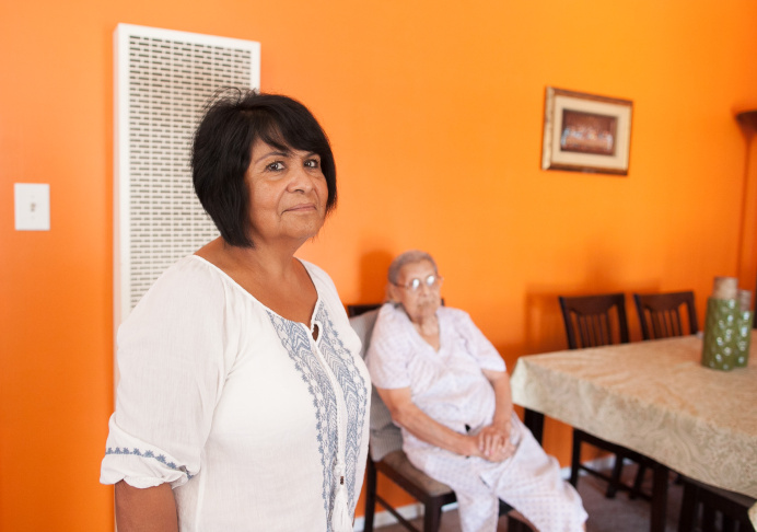Maria Lerma and her mother, Hijinia Villa, 91, say they could not find a place to use their Section 8 voucher near Boyle Heights, where they had lived, and were forced to relocate in a different area.