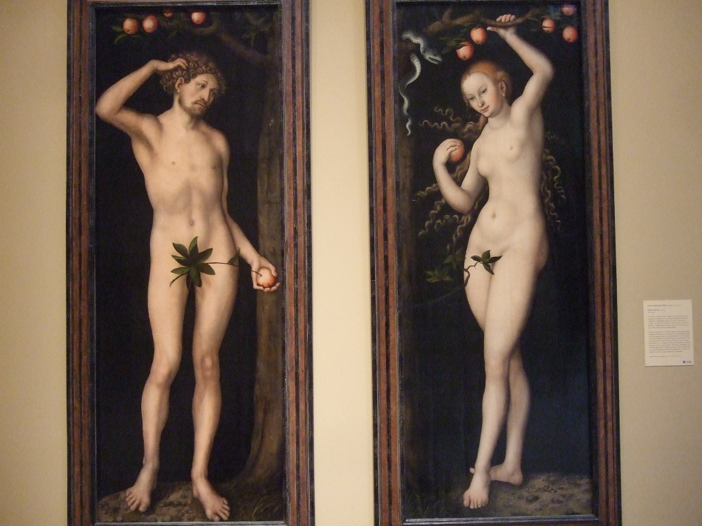 Paintings of Adam and Eve by Lucas Cranach the Elder at the Norton Simon Museum in Pasadena.