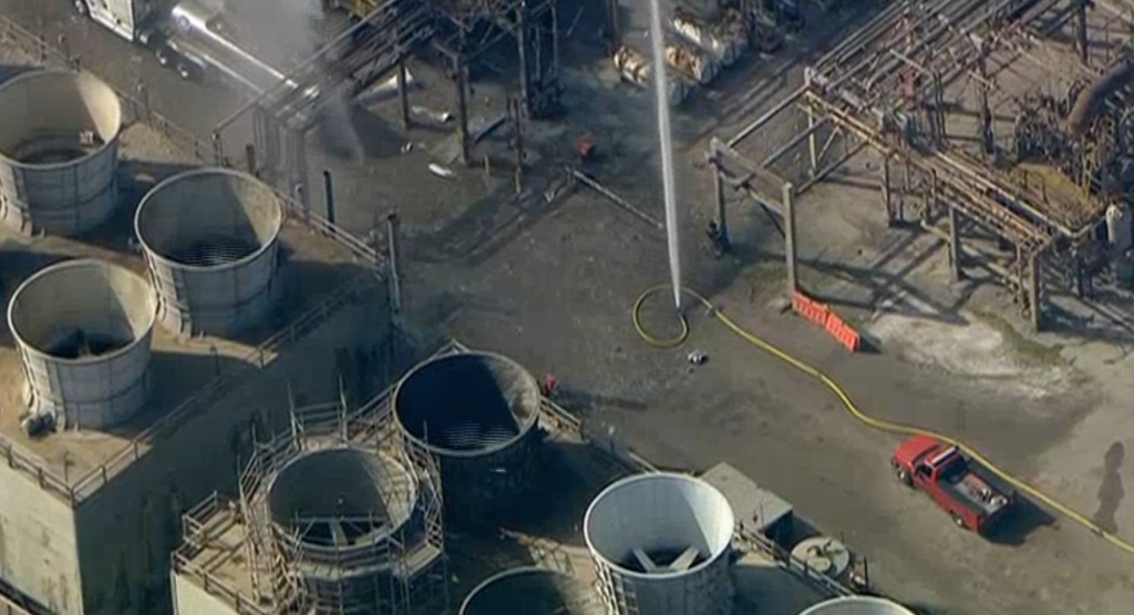 Aerial footage from NBC4 showed firefighters responding to the scene of an explosion at the ExxonMobil refinery in Torrance, Calif., on February 18, 2015.