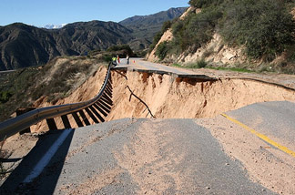 Highway 330 in San Bernardino was closed indefinitely after a section of road gave out.