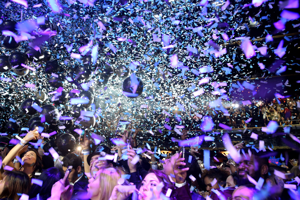 Party goers celebrate New Year's Eve at The Fonda Theatre on December 31, 2015 in Los Angeles, California.
