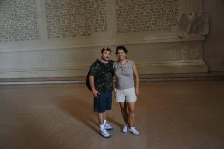 New citizens Oscar and Martha Mendoza visit the Lincoln Memorial in Washington, DC