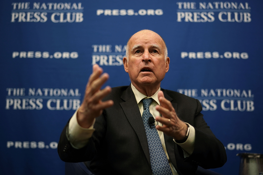 Gov. Jerry Brown speaks during an event at the National Press Club April 17, 2018 in Washington, D.C.