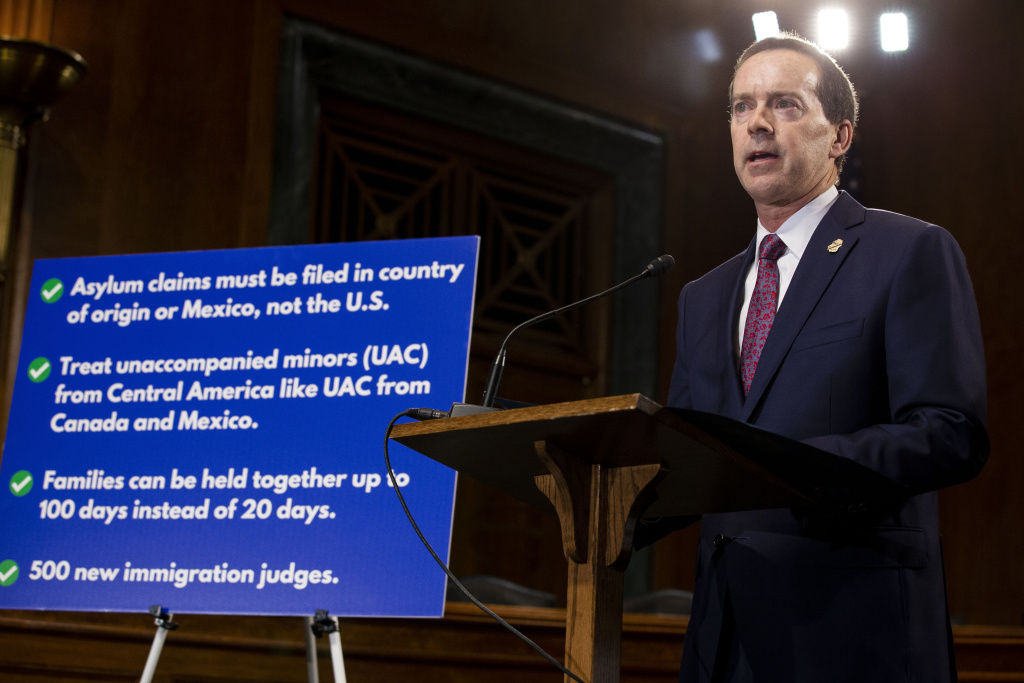Customs and Border Protection acting Commissioner John Sanders speaks at a news conference proposing legislation to address the crisis at the southern border at the U.S. Capitol on May 15, 2019.