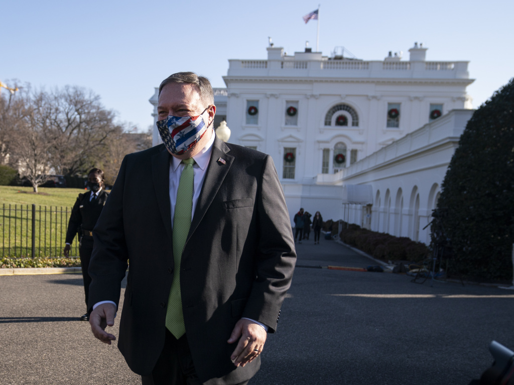 Former Secretary of State Mike Pompeo, pictured at the White House in December, was among the 28 Trump administration officials sanctioned by China.