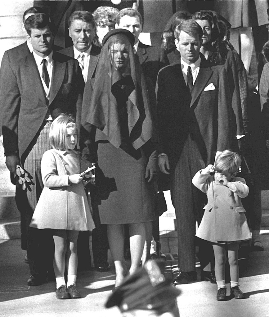 Members of the Kennedy family at the funeral of assassinated president John F. Kennedy in Washington D.C on Nov. 24, 1963. From left: Senator Edward Kennedy, Caroline Kennedy, Jackie Kennedy, Attorney General Robert Kennedy and John Kennedy.