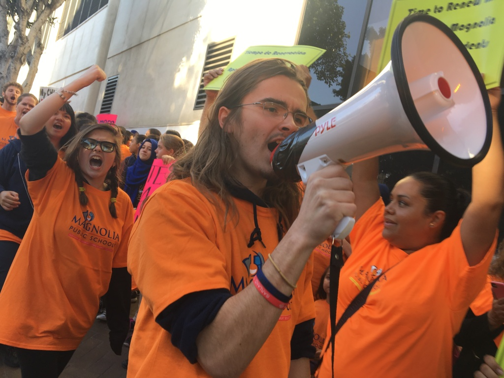 Hundreds of students, parents, teachers, staffers and supporters of Magnolia charter schools circled the downtown headquarters of the Los Angeles Unified School District on Tues., Oct. 18, ahead of a school board vote to deny three Magnolia schools' charter renewal requests.