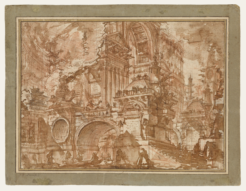 An Ancient Port; Giovanni Battista Piranesi (Italian, 1720 - 1778); Italy; 1749 - 1750; Red and black chalk and brown and reddish wash, squared in black chalk.
