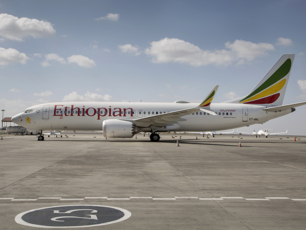 An Ethiopian Airlines Boeing 737 Max 8 sits grounded in Addis Ababa, Ethiopia, in March. Ethiopian officials on Thursday released the initial report into last month's crash of a Max 8.