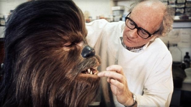 Make-up artist Stuart Freeborn works on the Chewbacca character's make up for