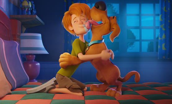 Shaggy Rogers, voiced by Will Forte, and Scooby Doo, voiced by Frank Welker, in