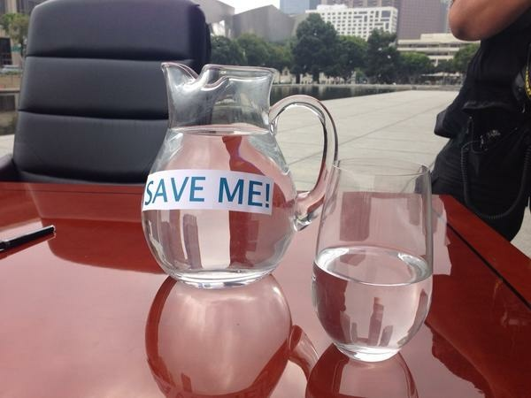 These were the props at Mayor Eric Garcetti's press conference on water conservation Tuesday.