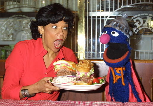 """Actress Sonia Manzano, who plays Maria Rodriquez on the childrens television show """"Sesame Street,"""" and the muppet Grover"""