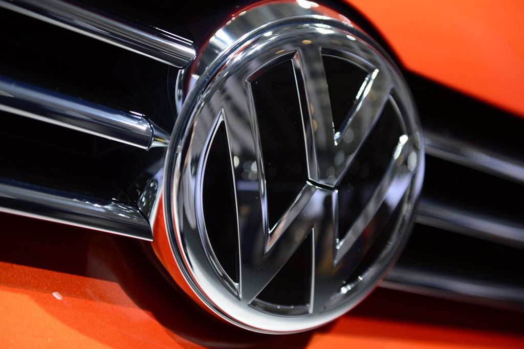 Logo of German car maker Volkswagen (VW) is pictured on a VW car during the shareholders' annual general meeting of VW in Hanover, central Germany, on May 5, 2015. AFP PHOTO / JOHN MACDOUGALL        (Photo credit should read JOHN MACDOUGALL/AFP/Getty Images)