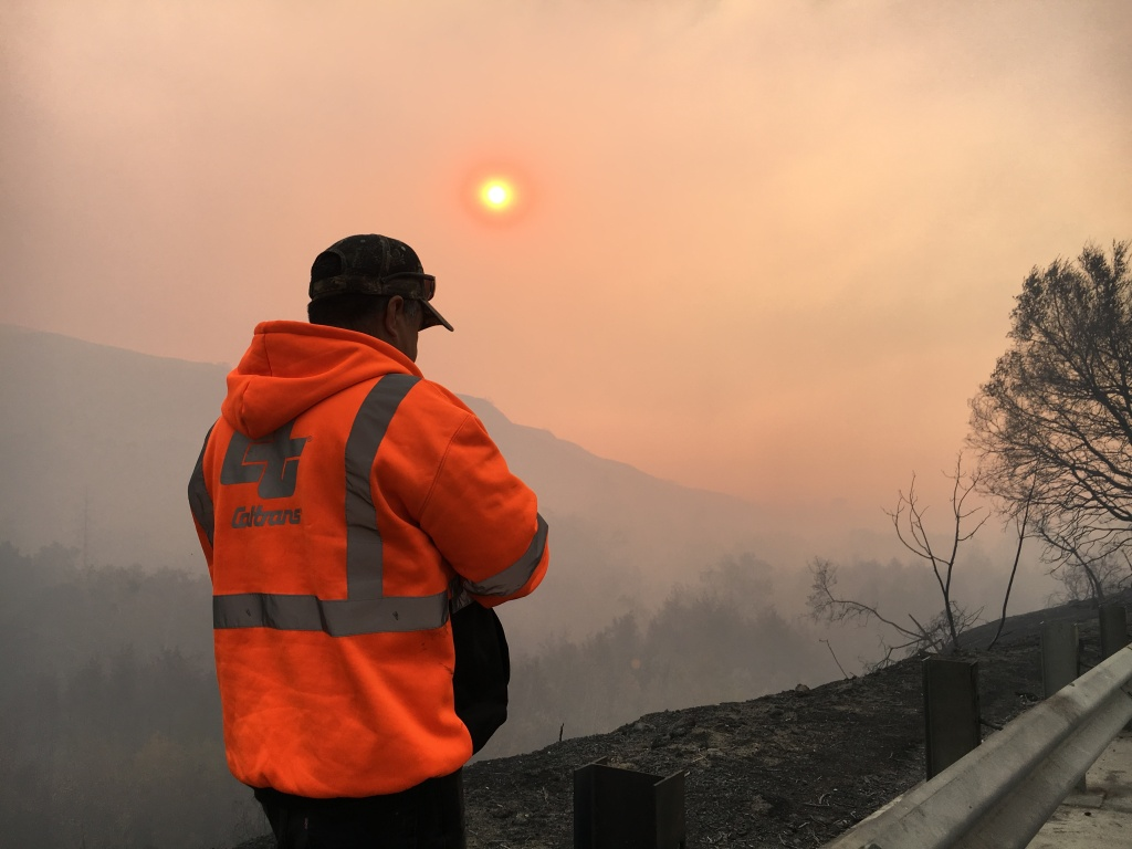 CalTrans supervisor Alvaro Magana at the point where Highway 150 becomes impassable due to burned and downed power lines, on Wednesday, Dec. 6, 2017.