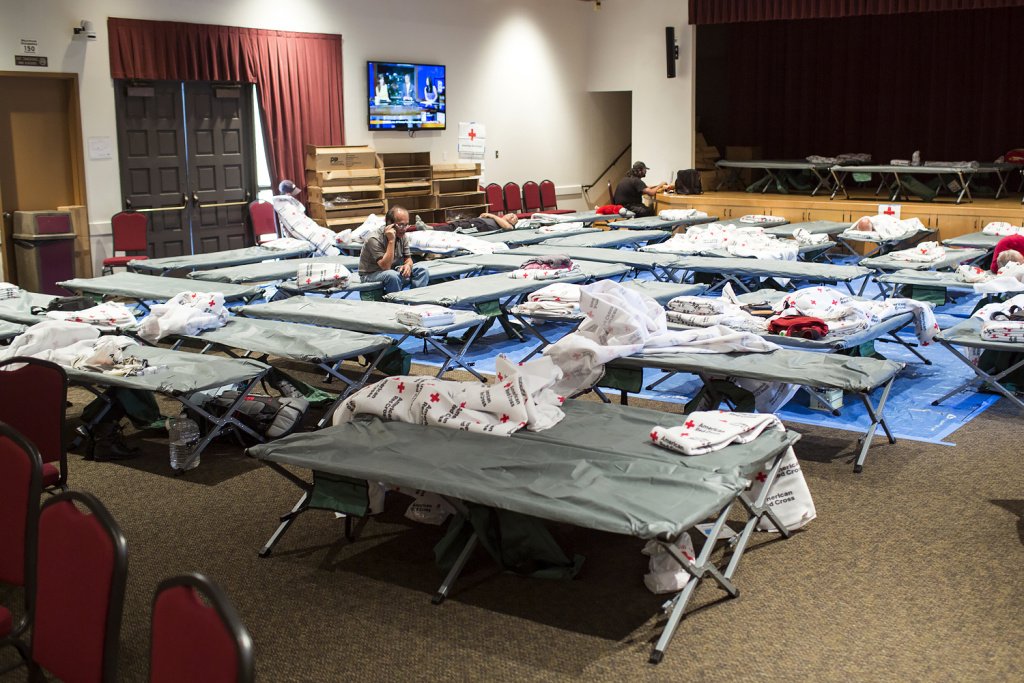 Residents stay at an evacuation center inside the Duarte Community Center during the San Gabriel Complex fire on Tuesday, June 21, 2016. About 30 people stayed on Monday night and more are expected to stay tonight.