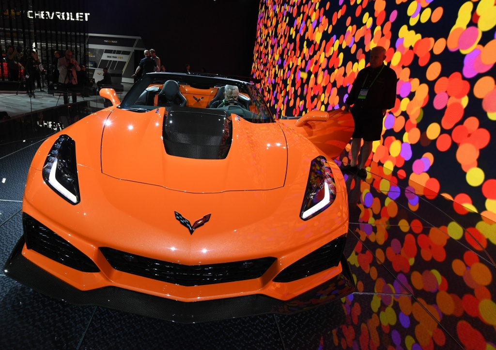 The exterior of the new Chevrolet Corvette ZR1 on display at the 2017 LA Auto Show in Los Angeles, California on November 29, 2017.