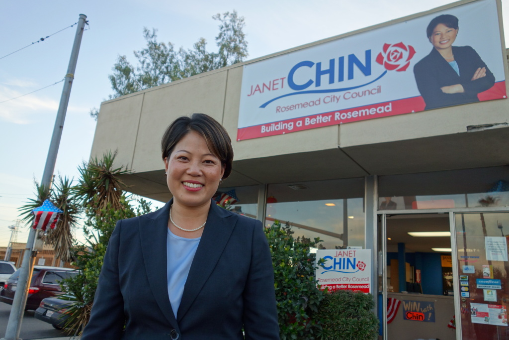 Rosemead City Council candidate Janet Chin outside her campaign office, March 2, 2013