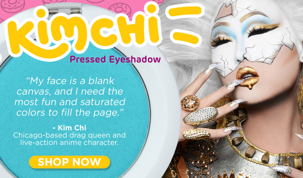 An ad campaign for the makeup company Sugarpill that features drag queen Kim Chi. The company collaborated with her to create a turquoise blue eyeshadow.