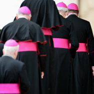 Pope Benedict XVI is welcomed by bishops