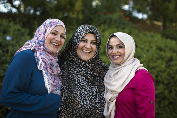 Maria Ahmed, left, Hosai Mojaddidi and Shahzia Rahman founded a co-op preschool together and are good friends. Ahmed and Mojaddidi have long worn hijab, the traditional Muslim headscarf. Rahman is a practicing Muslim but did not wear hijab - until recent weeks. She decided to begin wearing it in hopes of doing her part to counter anti-Muslim prejudice. But some women have decided not to wear hijab lately because they fear for their safety.