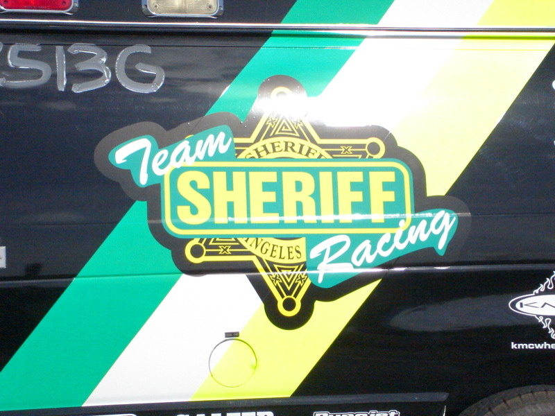 A 2006 photo of the side of an L.A. County Sheriff's Department Baker To Vegas race vehicle.