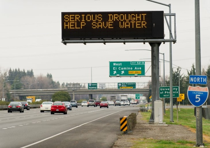 California drought - highway signs