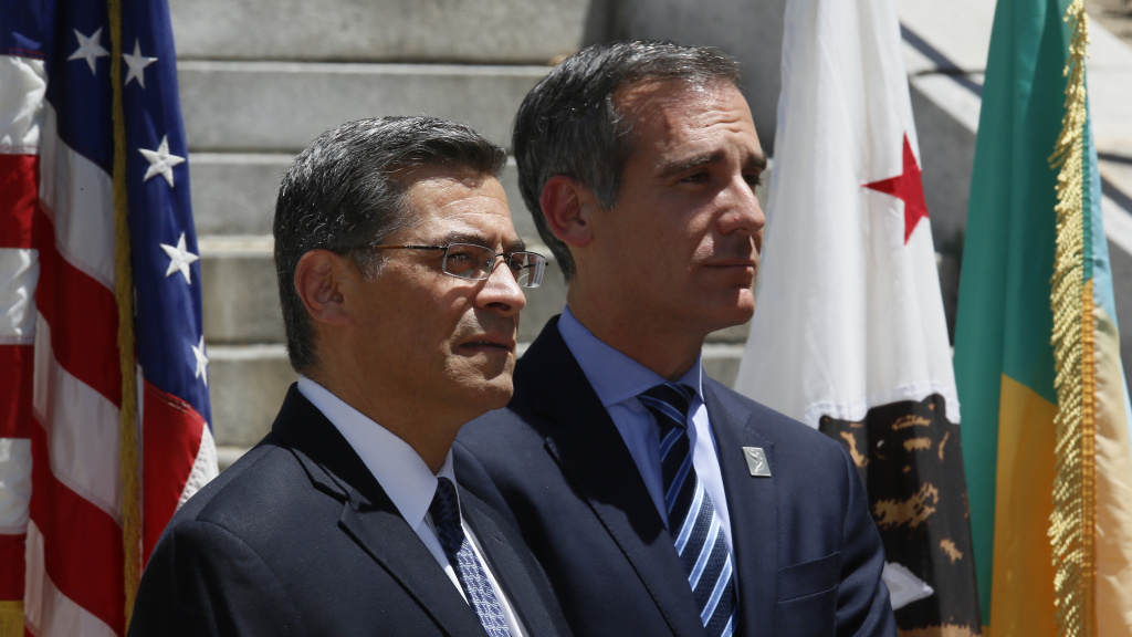 California Attorney General Xavier Becerra (left) and Los Angeles Mayor Eric Garcetti announced the city and county of Los Angeles, plus four other cities, were joining California's lawsuit over the 2020 census citizenship question in May.