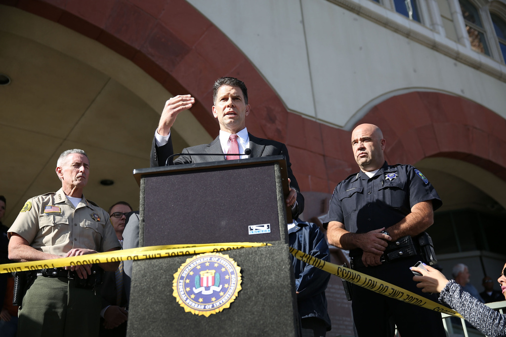 David Bowdich, FBI Assistant Director in Charge of the Los Angeles Field Office, speaks to the media about the terrorist attack at the Inland Regional Center on Dec. 7, 2015 in San Bernardino. Law enforcement officials continue to investigate the mass shooting at the Inland Regional Center in San Bernardino that left 14 people dead and another 17 injured on Dec. 2.