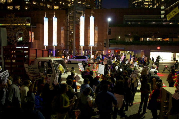 Protesters demonstrated at a downtown Bank of America building on Wednesday, November 9, 2011
