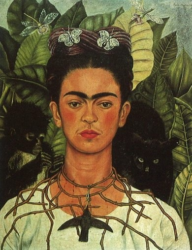 Frida Kahlo, Autorretrato con collar de espinas y colibri (Self Portrait with Torn Necklace and Hummingbird), 1940