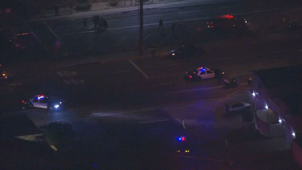 The scene of a Santa Ana hit-and-run that killed three teenage girls on Halloween, as seen in an NBC L.A. screenshot.