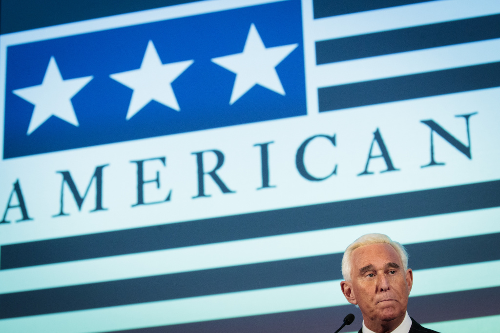 Political strategist Roger Stone speaks at the American Priority Conference, December 6, 2018 in Washington, DC.