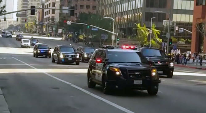 A view of President Barack Obama's motorcade as he prepared to leave Los Angeles on Friday, Feb. 12, 2016.