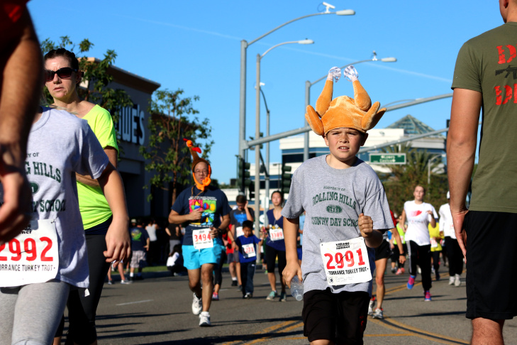 About 4,500 hundred people participated. in Thursday's 35th Annual Harry Sutter Memorial Thanksgiving Day Turkey Trot Fun Run in Torrance.