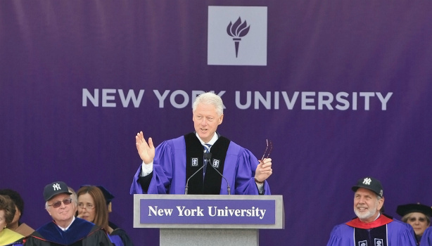 Former President Bill Clinton attends the 2011 New York University commencement at Yankee Stadium on May 18, 2011 in New York City.