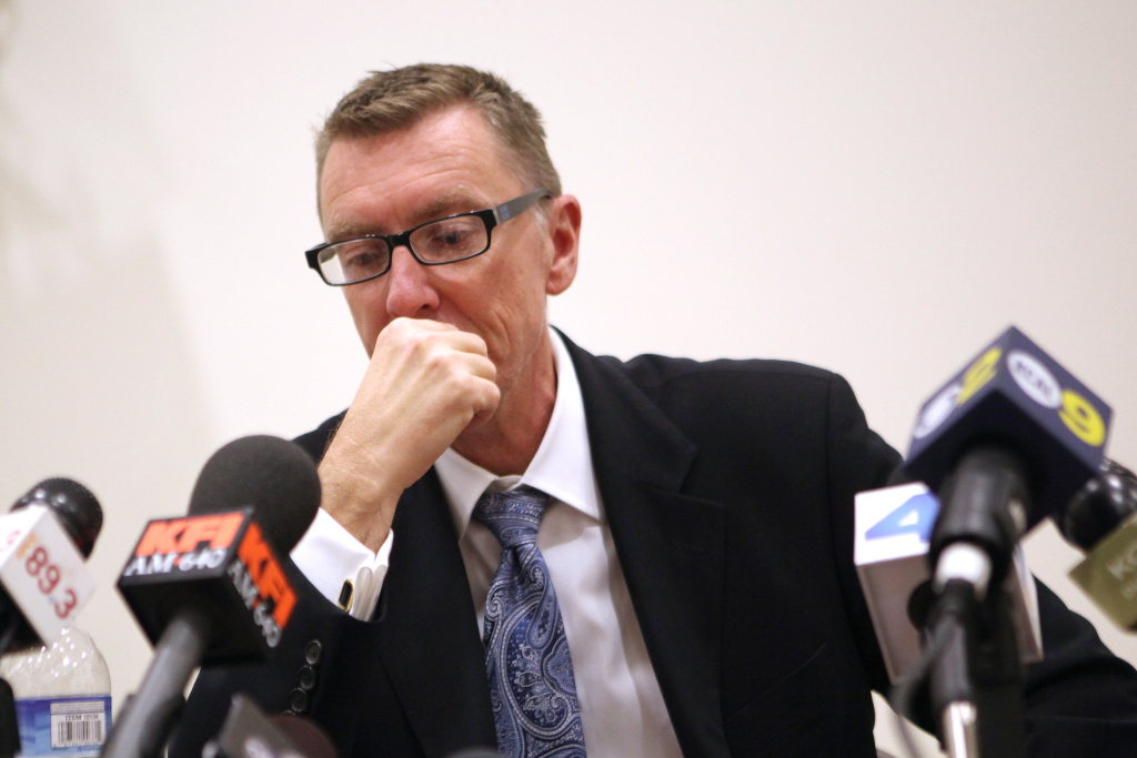 Los Angeles schools Supt. John Deasy  speaks during a press conference at South Region High School #2 in Los Angeles, California February 6, 2012.  Deasy earlier informed parents at a community meeting that the district is replacing the entire staff of Miramonte Elementary School after the arrests of two teachers on lewd conduct charges.