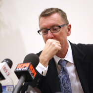 Los Angeles schools Supt. John Deasy  speaks during a press conference at South Region High School #2 in  2012.