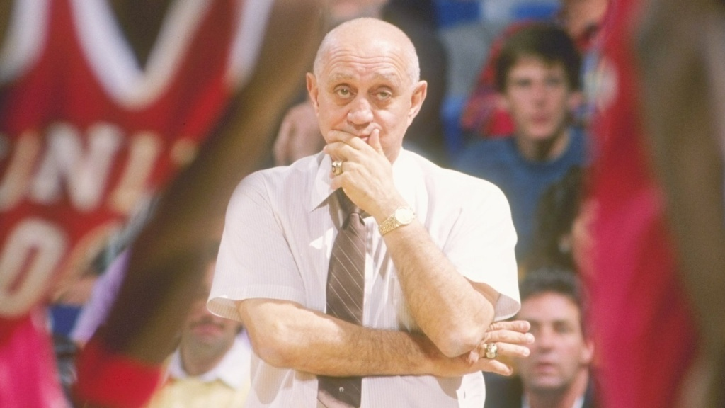 Head coach Jerry Tarkanian watches his UNLV Rebels during the 1989-1990 season. Tarkanian died Wednesday at age 84.