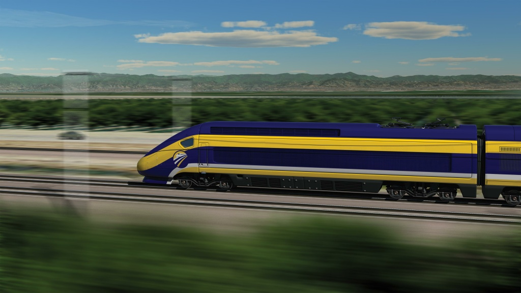 A computer-generated image shows what a California high-speed train might look like.