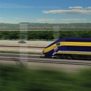 Computer-generated image of a potential California high-speed train.