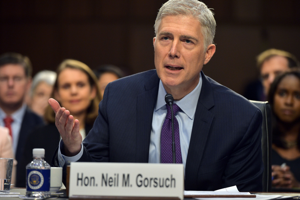 Neil M. Gorsuch testifies before the Senate Judiciary Committee on his nomination to be an associate justice of the US Supreme Court during a hearing in the Hart Senate Office Building.