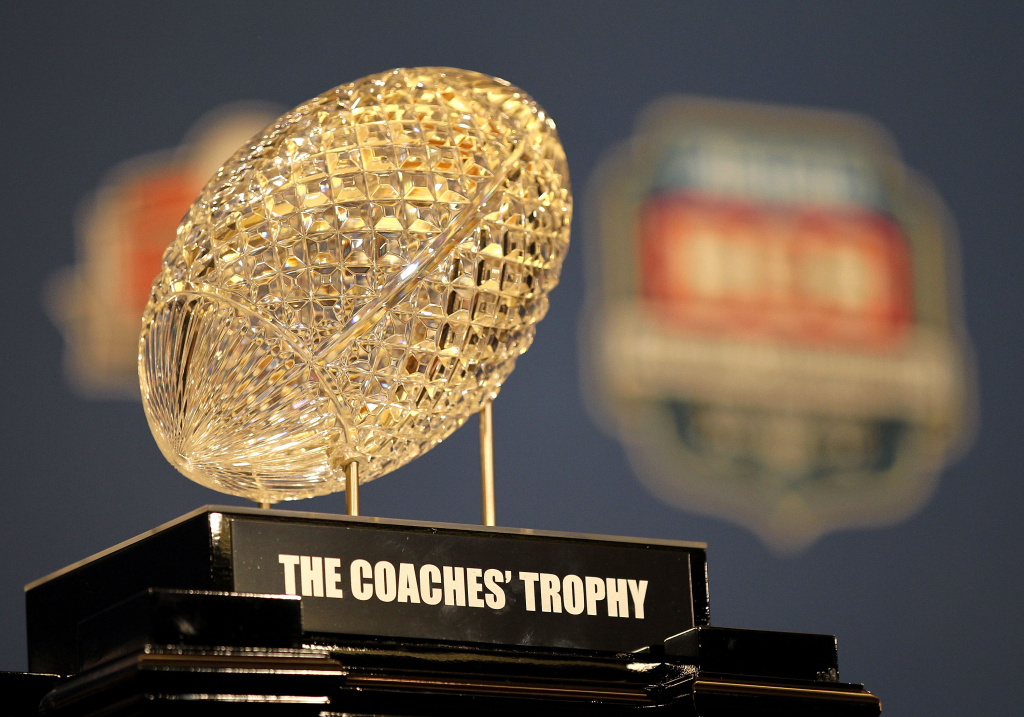 The Coaches' Trophy, awarded to head coach Nick Saban of the Alabama Crimson Tide after defeating Louisiana State University Tigers in the 2012 Allstate BCS National Championship Game during a press conference on January 10, 2012 in New Orleans, Louisiana.