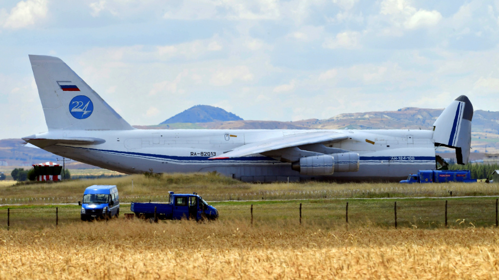 A Russian cargo plane carrying parts of Russia's S-400 missile defense system landed at a military air base near Ankara on Friday.