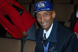 Tuskegee Airman, Oliver Goodall, rests between meeting guests at the Tuskegee Airmen educational screening event on December 6, 2009, at St. Francis High School in La Canada, CA.