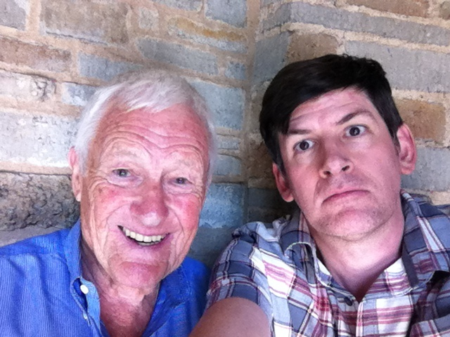 Actor Orson Bean and Off-Ramp host John Rabe taking a selfie at the Geffen Playhouse, where Bean gets top alphabetical billing in