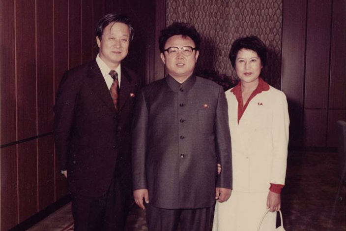 """Shin Sang-ok, Kim Jong-il, and Choi Eun-hee in """"The Lovers and the Despot,"""" a Magnolia Pictures release."""
