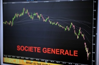 A screen with the French bank Société Générale market index in an office of the French investment company.