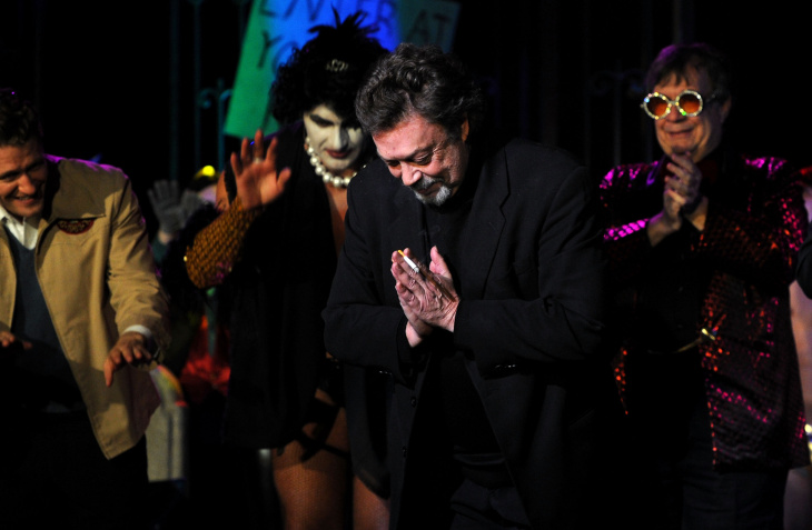 Actor Tim Curry (C) onstage during The Rocky Horror Picture Show 35th anniversary to benefit The Painted Turtle at The Wiltern on Oct. 28, 2010 in Los Angeles.