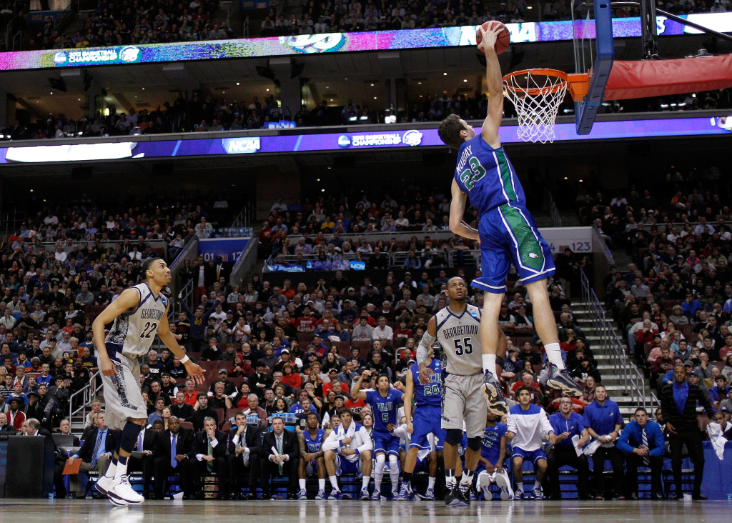Eddie Murray #23 of the Florida Gulf Coast Eagles dunks in the second half against Jabril Trawick #55 of the Georgetown Hoyas during the second round of the 2013 NCAA Men's Basketball Tournament at Wells Fargo Center on March 22, 2013 in Philadelphia, Pennsylvania.